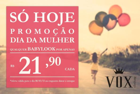 promocao dia da mulher-vox clothing-eletrochurch-babylooks em promoção