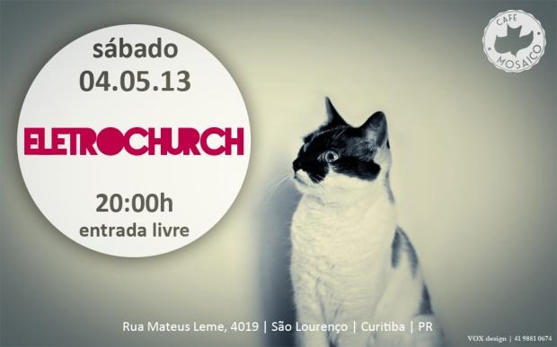 banner gato - eletrochurch - café mosaico - calvary chapel - igreja vivendo em cristo